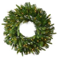"30"" Pre-Lit Mixed Pine Cashmere Artificial Christmas Wreath - Clear LED Lights - green"