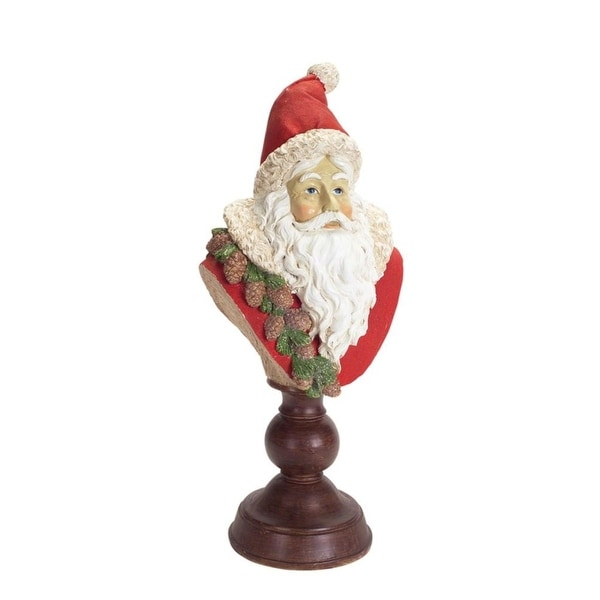 """Set of 2 Vibrantly Colored Christmas Santa Claus Bust Figurine with Pedestal Base 16"""" - RED"""
