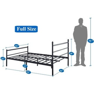 VECELO  Platform Bed Frame Metal Beds Mattress Foundation with Headboard and Footboard(Twin/Full/Queen Size 3 Opotion) (Full)