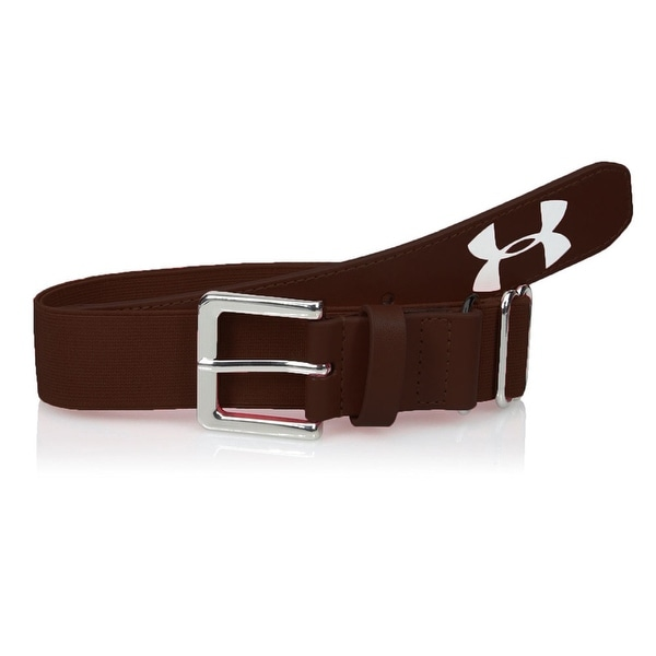 Under Armour Youth Boys Baseball Belt Elastic Adjustable Up to Size 34 Brown - Dark brown - One size