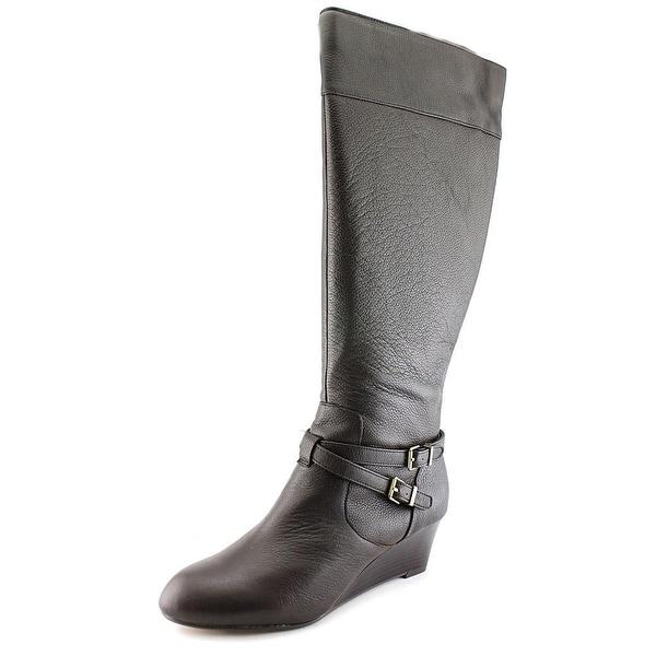 Giani Bernini Kalie Wide Calf Women Round Toe Leather Brown Knee High Boot