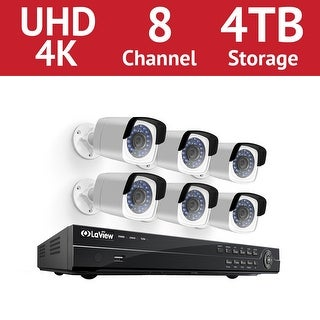 LaView 8 Channel UHD 4K IP NVR with (6) 4MP Bullet Cameras and a 4TB HDD