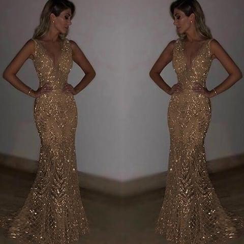 Sleeveless Deep V Dress Sequined Dress