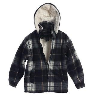 Gioberti Boys Black Plaid Sherpa Lined Detachable Hood Flannel Jacket