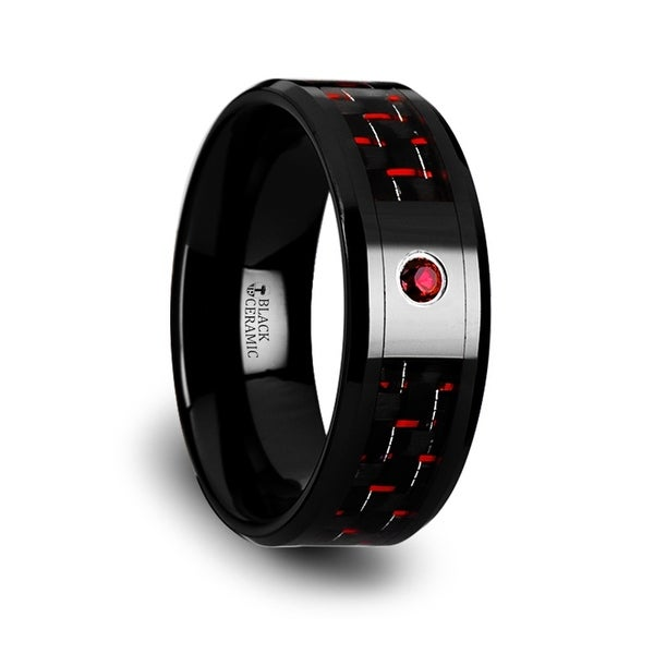 SORRELL Black Ceramic Ring with Black and Red Carbon Fiber and Red Ruby Setting 8mm