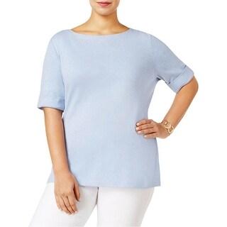 Karen Scott Womens Plus T-Shirt Heathered Cuff Sleeves