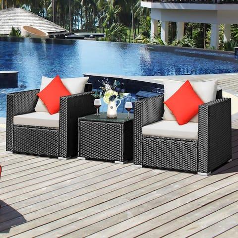 Costway 3PCS Patio wicker Furniture Set Conversation Rattan Sofa Set - Black/Beige