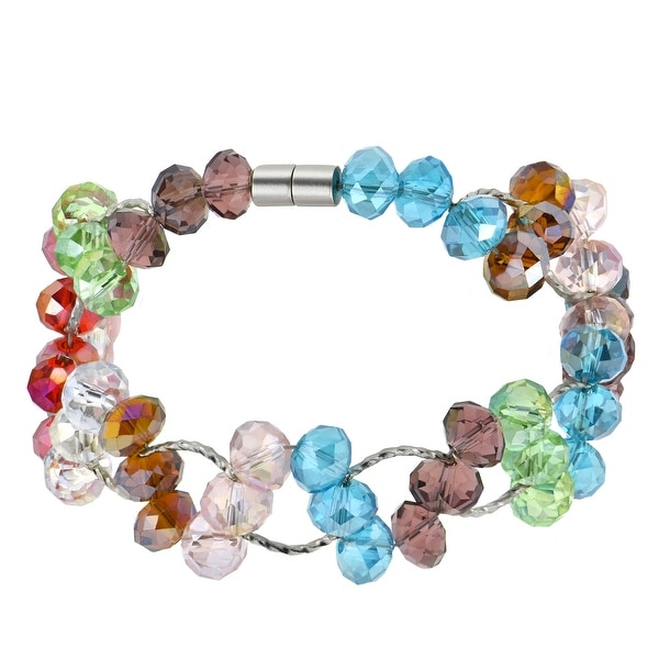 Handmade Unique Sparkling and Colorful Crystal Beads Magnetic Clasp Bracelet (Thailand). Opens flyout.