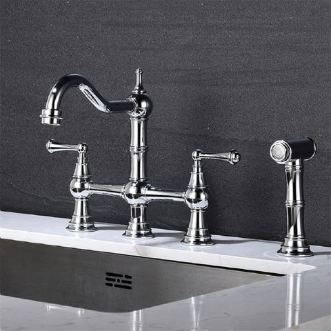 Bridge Dual Handles Kitchen Faucet With Pull-Out Side Spray,Silver