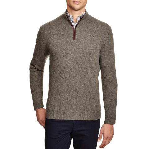 Bloomingdales Mens 2-Ply Cashmere Half Zip Mock Neck Sweater Large Heather Green