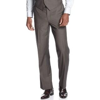 Sean John Dress Pants 32W x 32L Brown Flat Front Suit-Separates Regular Fit