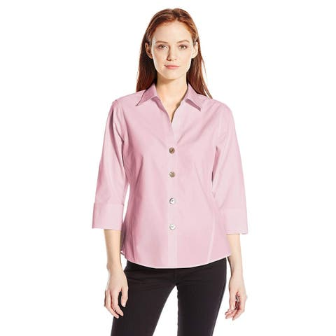 Foxcroft Women's Petite Size 3/4 Sleeve Paige Non Iron, Chambray Pink, Size 10.0 - 10