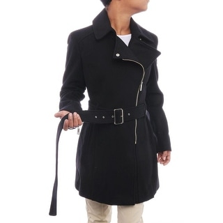 Kenneth Cole NY Women Asymmetrical Front Zipper Trench Coat Trench Black