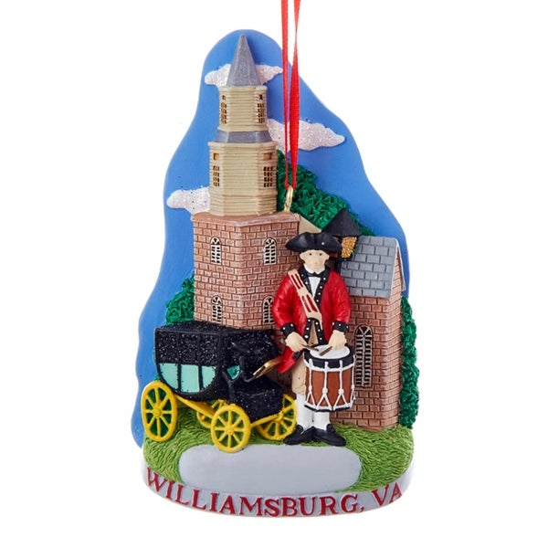 "4.5"" Williamsburg Virginia American Revolution Hanging Christmas Ornament - BLue"