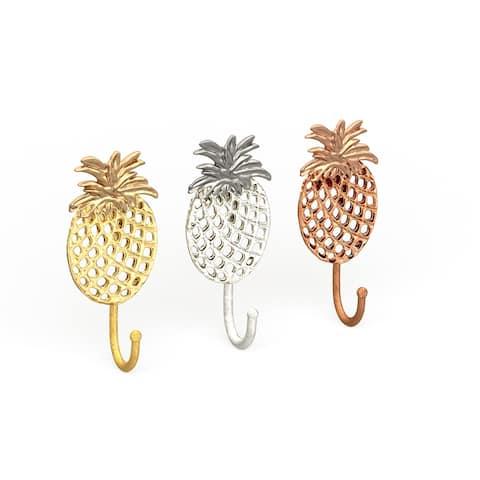 "Gold, Silver & Bronze Metal Pineapple Wall Hooks Set of 3 - 4"" x 7"""