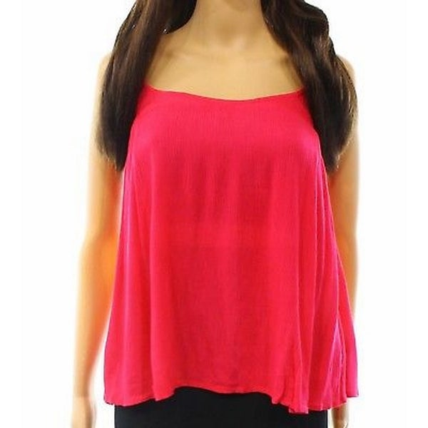 Elodie Pink Womens Size Small S Ruffled Spaghetti Strap Tank Top