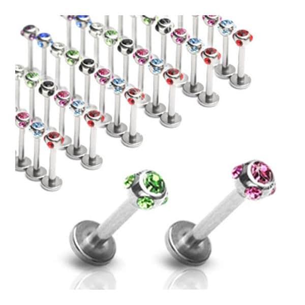 """Surgical Steel Labret, Monroe, Cartilage or Tragus w/ 5-Gem Set 4mm Balls- 14GA 3/8"""" Long (Sold Ind.)"""
