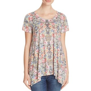 Nally & Millie Womens Blouse Floral Print Sharkbite Hem