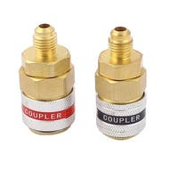 Unique Bargains 2 Pcs Metal Refrigerator High Low Side Quick Coupler Adapter Connector Red Green