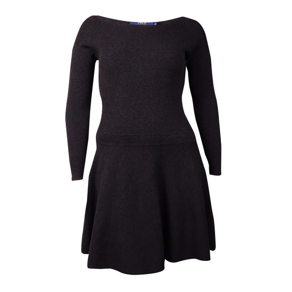 Polo Ralph Lauren Women's Ribbed Fit Flare Sweater Dress - Charcoal