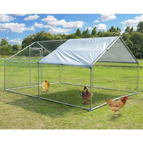 Merax Metal Chicken Coop Cage with Cover, Walk-In Pen Run 9.8' L x 13.1' W x 6.4' H - silver