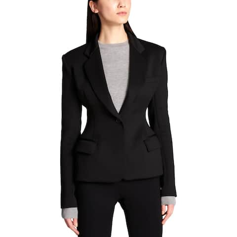 DKNY Womens One-Button Suit Jacket Exaggerated Fit Long Sleeves