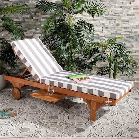 "Safavieh Outdoor Living Newport Grey/ White Stripe Cart-Wheel Adjustable Chaise Lounge Chair - 27.6"" x 78.7"" x 14.2"""