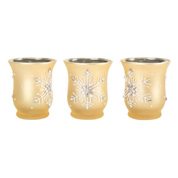 Pack of 6 Gold Jeweled Snowflake Glass Christmas Candle Holders 3.5""