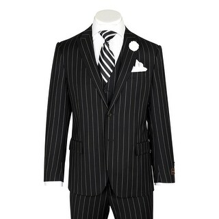 Tufo, Modern Fit, Black Pin-Stripe, Pure Wool Suit & Vest by Tiglio Luxe TIG1052