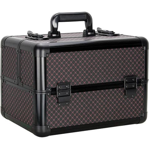 Ver Beauty Black Diamond 4 Extendable Trays Professional Cosmetic Makeup Case with Dividers - VK3403