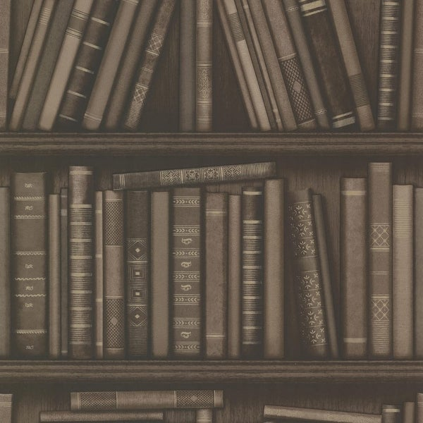 Brewster 2604-21231 Atheneum Brown Antique Books Wallpaper - N/A