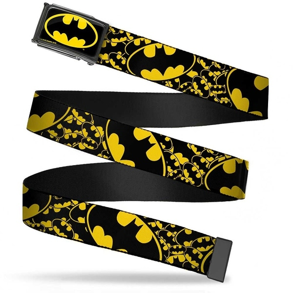 Batman Fcg Black Yellow Black Frame Bat Signals Stacked W Close Up Web Belt