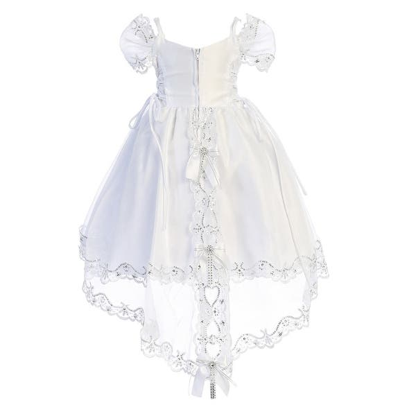 Angels Garment Little Girls White Embroidered Organza Tail Baptism Dress 4