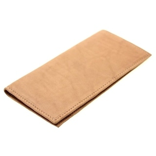 Paul & Taylor Men's Leather Checkbook Cover Wallet (Tan)