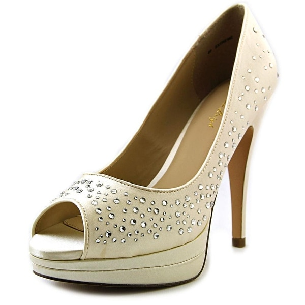 Brianna Leigh Extreme Women Peep-Toe Canvas Ivory Heels