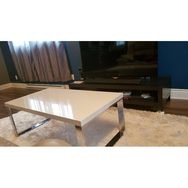 Shop Safavieh Rockford White Chrome Coffee Table Free Shipping