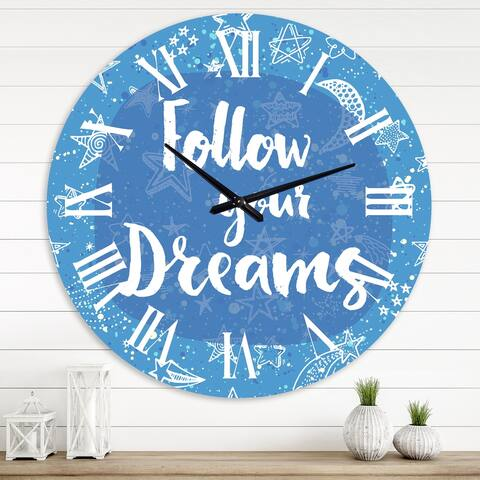 Designart 'Follow Your Dreams II' Modern wall clock