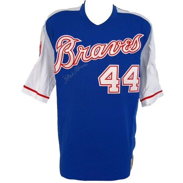 Hank Aaron Signed Braves Blue Mitchell and Ness Cooperstown Jersey JSA Full  Letter 0a385e107