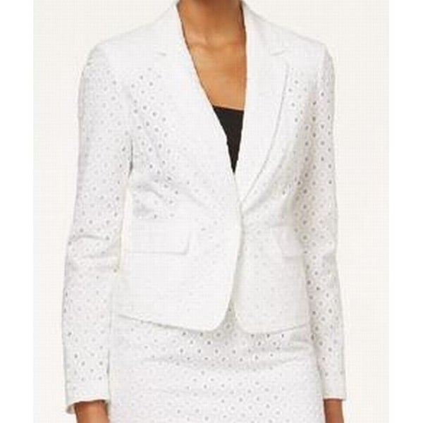 8309ac50cc37c Shop Nine West NEW White Eyelet Women s Size 16W Plus Notch-Lapel Jacket -  Free Shipping On Orders Over  45 - Overstock - 18341630
