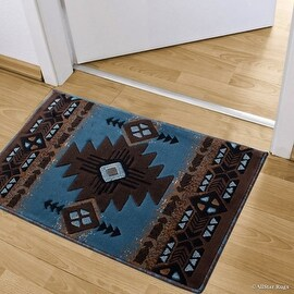 """Allstar Light Blue Doormat Accent Rug Woven High Quality High Density Double Shot Drop-Stitch Carving (2' 0"""" x 3' 3"""")"""