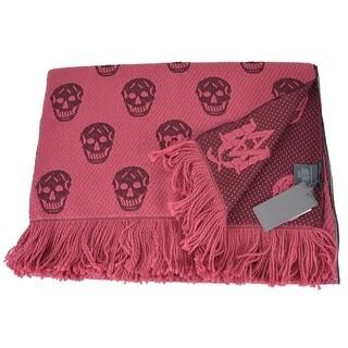 Alexander Mcqueen 431990 Violet Wool Silk Skull Pattern Scarf Muffler