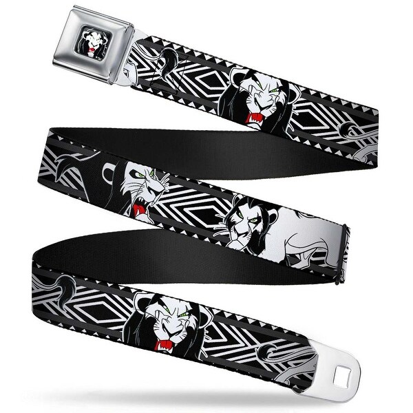 Simba Face Full Color Black White Red Lion King Scar Poses White Black Seatbelt Belt