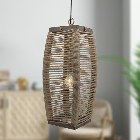 The Curated Nomad Llarima 20-inch Cylinder 1-light Rope Pendant - 40