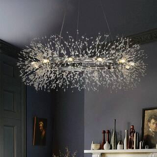 Interior Décor Stainless Steel Crystal Firework Chandelier 12-lights bulb included Round Pendant Ceiling Lighting in Chrome