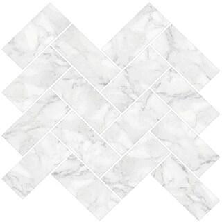 "Brewster NH2358 Herringbone Carrara 10"" x 10"" Square Chevron Self-Adhesive Resin Peel and Stick Backsplash Tiles - White - N/A"
