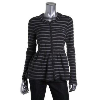 Free People Womens Striped Long Sleeves Blazer - L