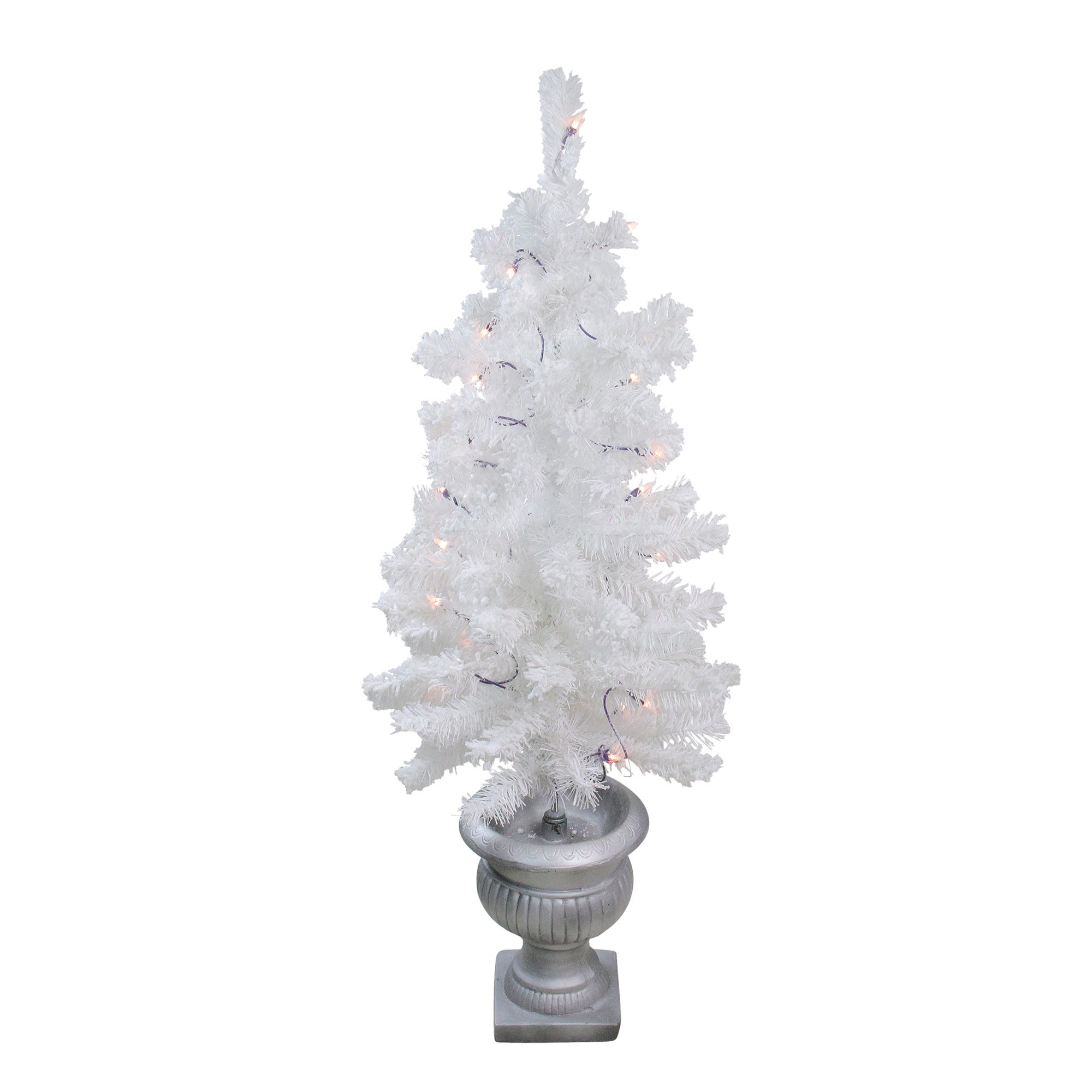 3 5 Pre Lit Potted Flocked White Pine Artificial Christmas Tree Clear Lights 3 5 Foot