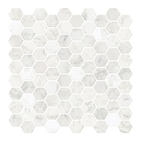 Hexagon Marble Peel & Stick Backsplash Tiles