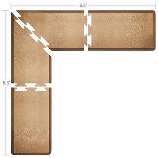 WellnessMats Puzzle Piece Collection 6.5 X 6.5 X 2 Feet, 4 Piece L Series Anti-Fatigue Office & Kitchen Mat Set, Granite Copper