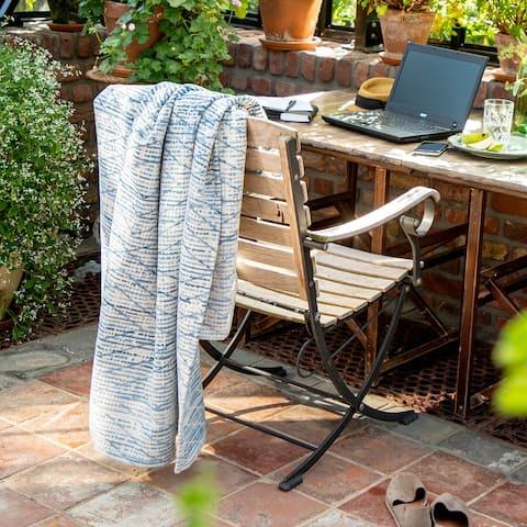 IBENA Blue and White Geometric Organic Cotton Blanket Throw Mombasa